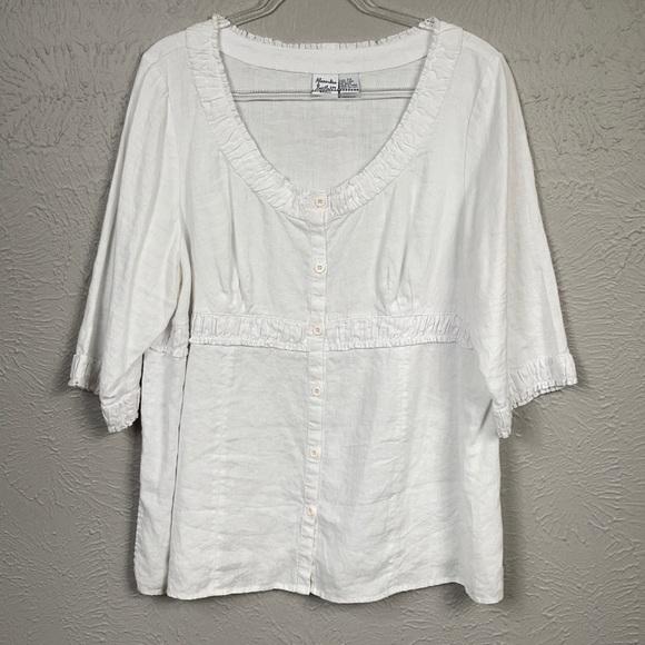 Alexandra Barlett White 100% Linen Shirt Size 2X